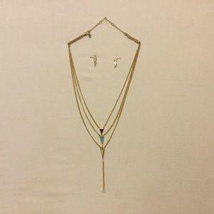 VERA BRADLEY Jewelry Necklace Earrings Gold Blue